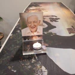 Waxinelichthouder met persoonlijke foto